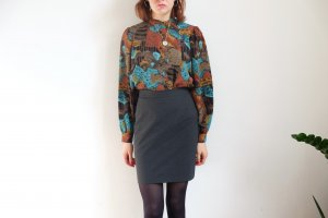 90s bluse florales muster S M kreppmuster