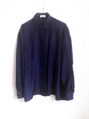 90s bluse reine seide dunkelblau navy S M minimal cleanchic
