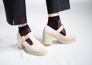 Sandalo con plateau beige chiaro Scamosciato