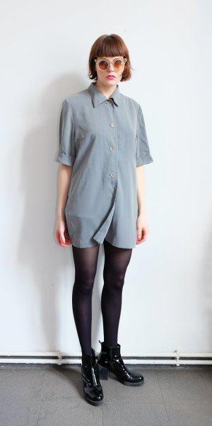 90s grunge shirtdress hemd minimal oversize grau kasten