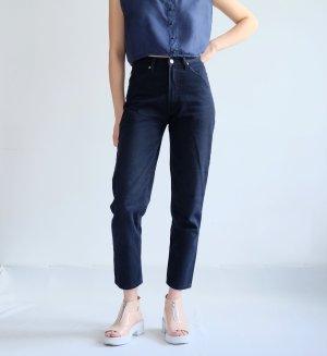 Jeans a vita alta blu scuro Cotone