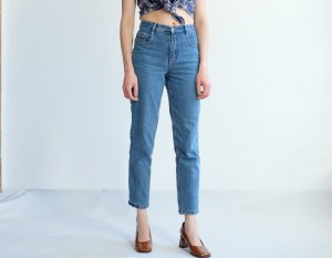 90s highwaist karottenjeans perfect fit denim blau S 36 XS 34