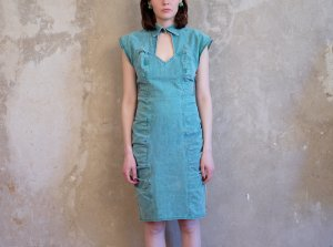 Midi Dress turquoise-petrol cotton
