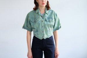 90s jeansjacke neon grün blau scandal print cropped S 36 38