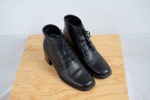 90s leder schnür stiefeletten blockabsatz ankle boots schwarz 38