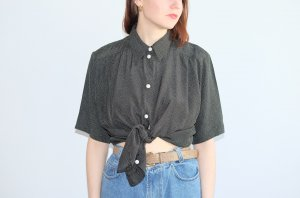 90s long bluse shirt kurzarm graphisches muster oversized S M 36 38 40