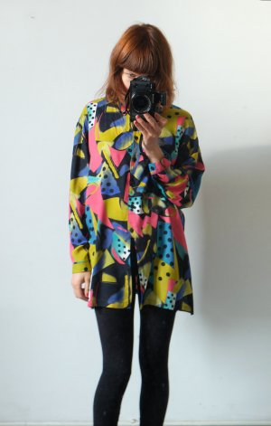 90s longbluse shirtdress halligalli graphisches muster oversize