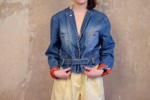 90s otto kern designer marine jeansjacke taillengurt goldknöpfe S 36 38