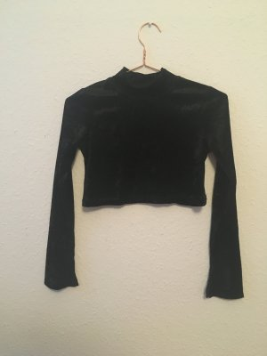 90s Pannesamt Cropped Top Longsleeve Turtle Neck