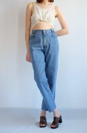 90s Rene Lezard highwaist Designer mom jeans blau denim straightleg M S 38 40