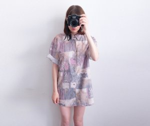 90s shirtdress graphisches muster unisex oversized pastell