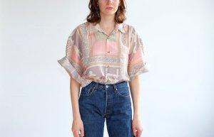 Long Shirt light pink-natural white silk