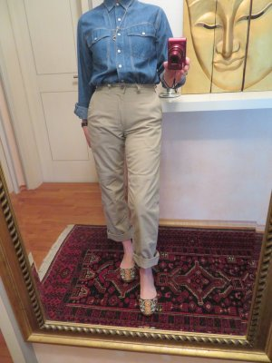 90s Vintage LEVIS  Worker Hose Hell Khaki All Duty Pants High Waist W28 S M Momjeans Festival Safari