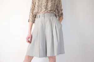 90s wideleg minimal highwaist sommer shorts grau plissee M L 42