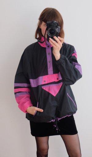 90s windbreaker regenjacke pink schwarz unisex oversized S M