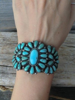 Armlet turquoise-silver-colored