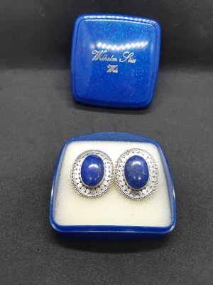 Ear stud silver-colored-blue