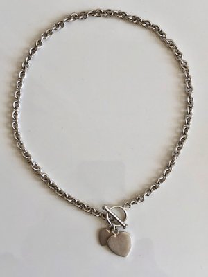 925 Kette Silber Silberkette  Herzen Collier 925er MASSIV Gliederkette Halskette mit Herzanhänger und Knebelverschluss