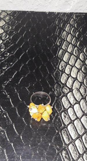 925 Ring gelbe Steine