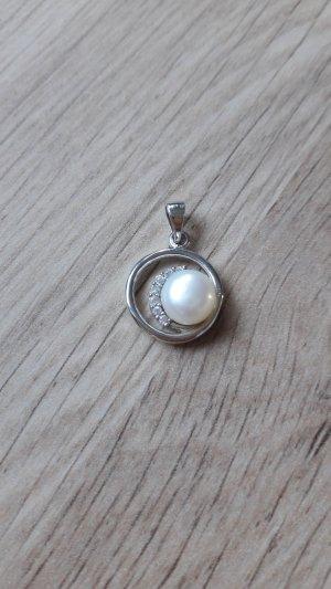 925 Silber Anhänger für eine Kette mit Zuchtperle und Zirkonia