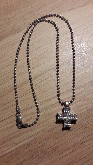 925 Silber Halskette mit Kreuz Kugelkette Schmuckstein