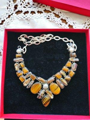 925 Silber Halskette mit Tigerauge Perlen Perlmut