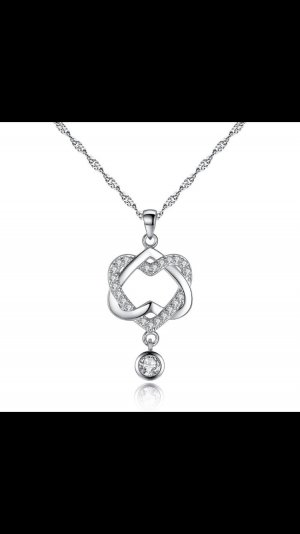 925 Silber Kette mit Swarovski-Kristall Elementen Halskette