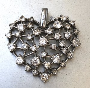 925 Silber Kristall Herz XL Kettenanhänger Silberanhänger Swarovski Kristalle