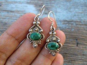 925 Silber Ohrringe Malachit sterling Ethno Echtsilber Ohrhänger grüne Steine echtes Silber