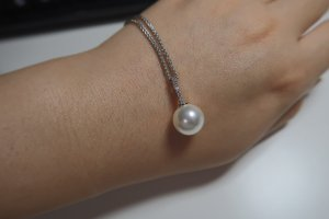 Necklace white real silver