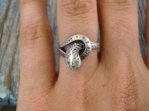 925 Silber Ring mit Schlange Patina Echtsilber Vintage Sterling Markasite