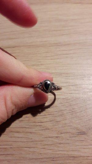925 Silber Ring ornamental mit schwarzem Stein in Tropfenform Gr. 53 16,8cm