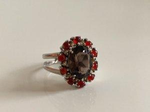 925 Silber Ring Rauchtopas Karneol Citrin Edelsteine facettiert Silberring Luxus Vintage