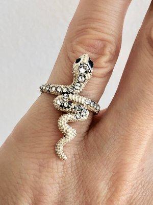 925 Silber Ring Schlange Silberring funkelnden facettierte Kristalle schwarz Onyx