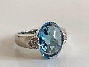 925 Silber Ring Silberring aqua blau Stein im Ananasschliff facettiert