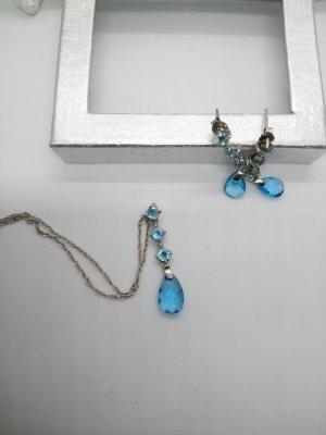 925 Silber Set Halskette Ohringe