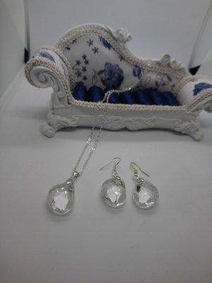 925 Silber Set Ohringe Halskette