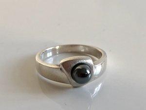 925 Silber Sterling Hämatit Ring Silberring Perle Juwelierstück Meisterpunze