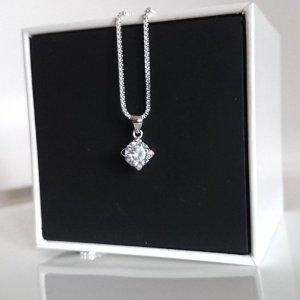 925 Silberkette mit Kristall-Zirkonia Anhänger