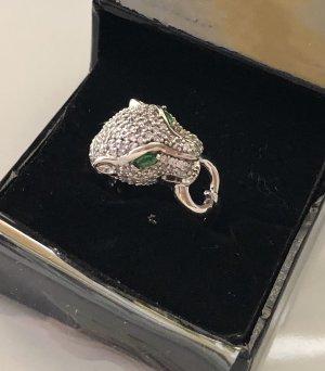 Zilveren ring groen-zilver