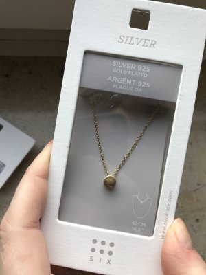 925 Sterling Silber Kette vergoldet, Plättchen Anhänger