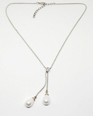 925 Sterling Silber Perlencollier Kette Schlangenkette 2 grosse Perlen (Berg)Kristall Perlenkette