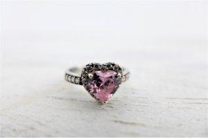 925 Sterling Silber Ring I love you Herz Zirkonia rosa weiß neu