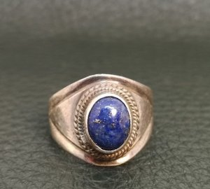 925 Sterling Silber Ring Lapislazuli Cabochon Edelstein Solitär silver lapis
