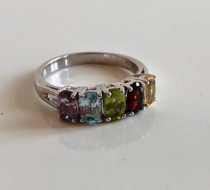 925 Sterling Silber Ring Silberring Juwelierstück Meisterpunze Granat, Citrin, Peridot, Amethyst und Aquamarin o. Topas