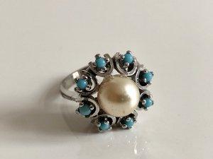 925 Sterling Silber Ring Silberring Perle Türkis Perlenring Edelstein
