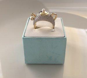 Zilveren ring geel-wit