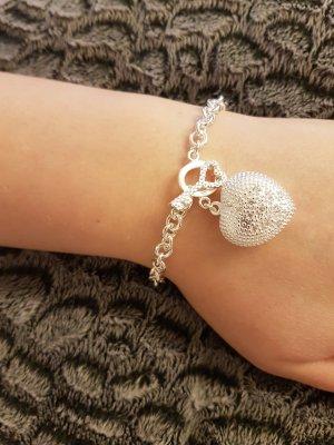 925er Armband mit Herzanhänger Herz Anhänger Schlüssel und Steinchen