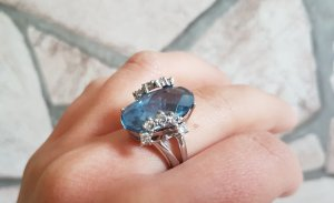 Silver Ring cornflower blue real silver