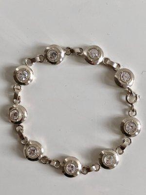 925er Silber Armband 9 facettierte Kristalle o. Bergkristalle Silberarmband